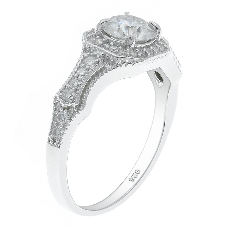 Women Dazzling Halo White CZ Ring